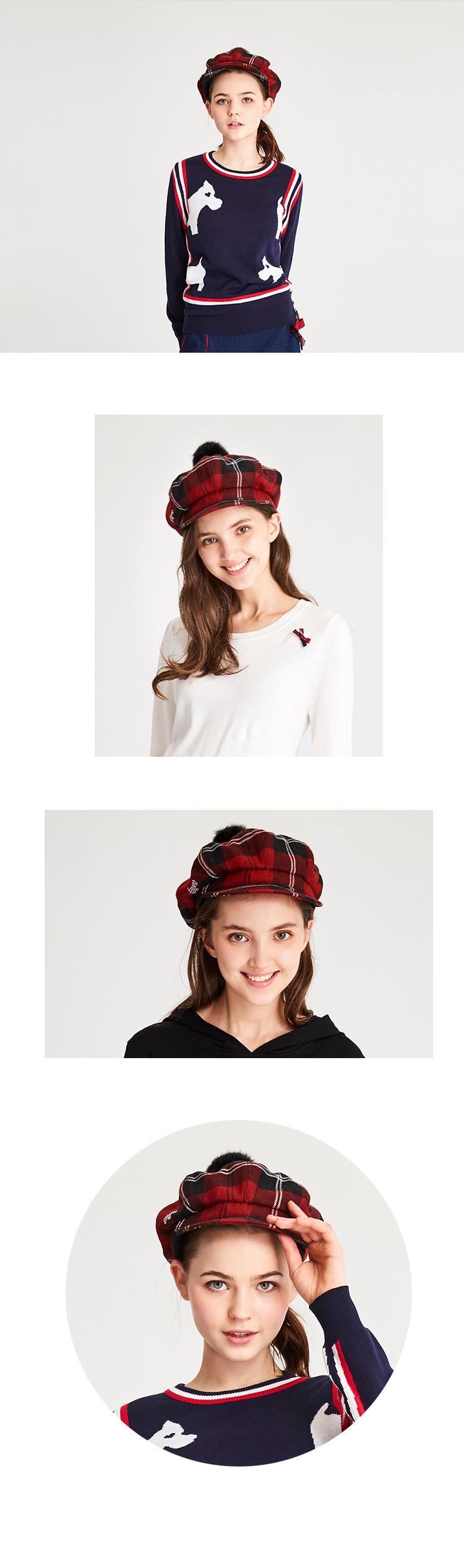 《紅黑格》格紋毛球畫家帽Scottish House【AH4701】