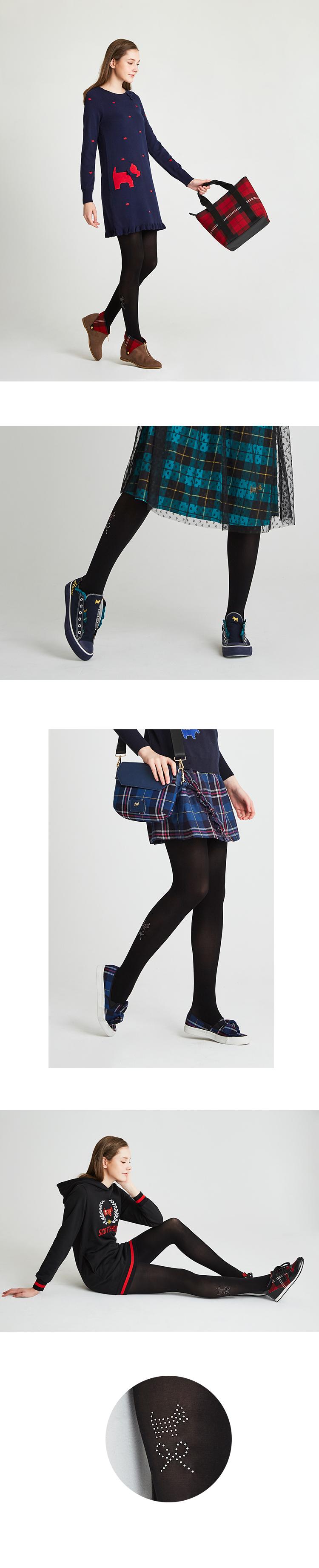 粉色狗狗蝴蝶結水鑽造型褲襪 Scottish House【AH6208】