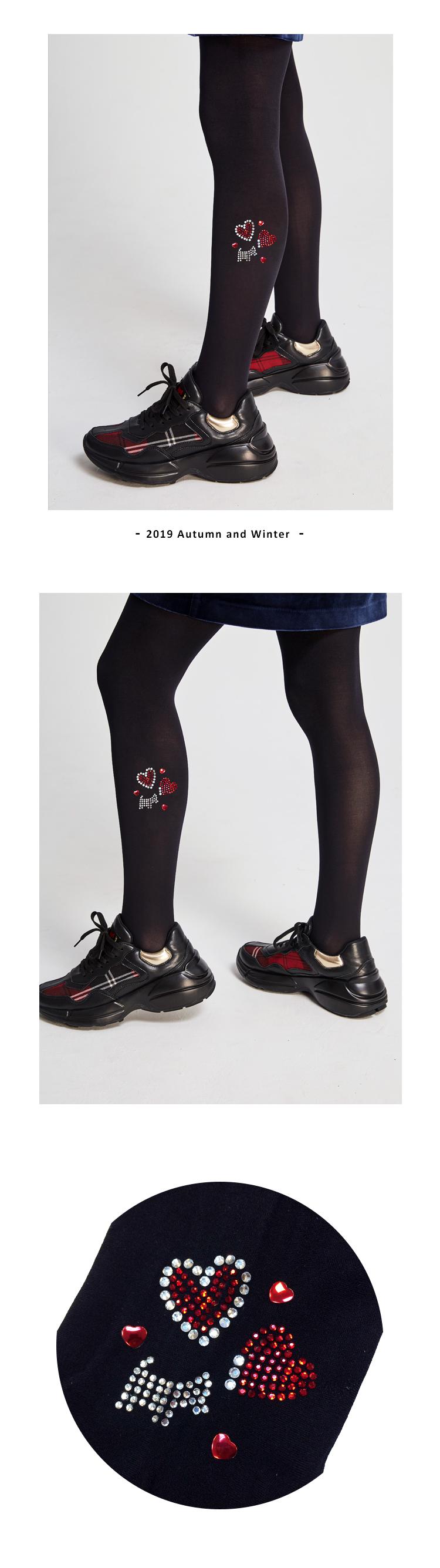 熱情心型排鑽褲襪 Scottish House【AJ6204】