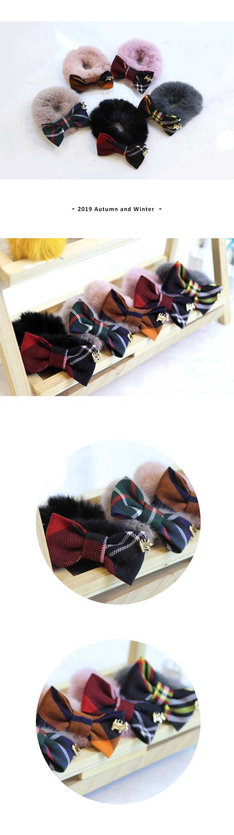毛毛蝴蝶結髮圈 Scottish House【AJ5603】